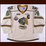 "2011-12 Jarred Tinordi London Knights Game Worn Jersey – ""2012 Memorial Cup"" - Photo Match – Team Letter"