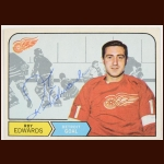 1968-69 Roy Edwards Detroit Red Wings Autographed Card – Deceased