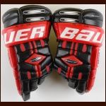 2005 Shawn Belle Team Canada World Junior Championships Black & Red Bauer Game Worn Gloves  - Team Canada Letter