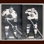 Lot of 2 Gilles Marotte Autographed J.D. McCarthy Postcards - Chicago Black Hawks & Boston Bruins - Deceased
