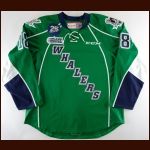 "2013-14 Danny Vanderwiel Plymouth Whalers Game Worn Jersey – Alternate – ""25-year Anniversary"" – Team Letter"