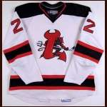 2007-08 Jason Ryznar Lowell Devils Game Worn Jersey - AHL Letter - University of Michigan Alum