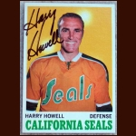 1970-71 Topps Harry Howell California Seals Autographed Card