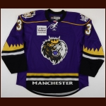 2009-10 Jake Muzzin Manchester Monarchs Game Worn Jersey - Debut Game – Team Letter