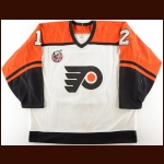 1992-93 Greg Paslawski Philadelphia Flyers Game Worn Jersey - Turk Evers Letter