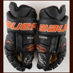 Teemu Selanne Anaheim Ducks Black Bauer Game Worn Gloves – Autographed