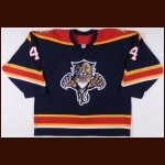2005-06 Jay Bouwmeester Florida Panthers Game Worn Jersey - Photo Match