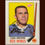1969-70 Topps Carl Brewer Detroit Red Wings Autographed Card – Deceased