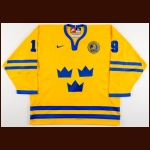 2002 Mikael Renberg Team Sweden Olympics Game Worn Jersey - Photo Match