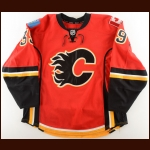 2013-14 T.J. Galiardi Calgary Flames Game Worn Jersey – Photo Match – Team Letter