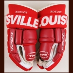 Slava Kozlov Detroit Red Wings Red Louisville Game Worn Gloves – Team Letter