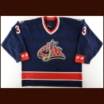 2002-03 Jamie Allison Columbus Blue Jackets Game Worn Jersey - Photo Match