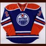 2010-11 Linus Omark Edmonton Oilers Game Worn Jersey – Retro - Rookie - NHL Debut - Photo Match