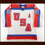 1984 John Harrington Team USA Pre-Olympic Game Worn Jersey - Miracle On Ice Alum - Photo Match
