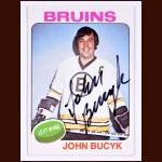 1975-76 Topps John Bucyk Boston Bruins Autographed Card