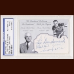"Leo Dandurand, ""Bullet"" Joe Simpson and Conn Smythe Autographed Card - The Broderick Collection - Deceased"