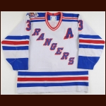 1992-93 James Patrick New York Rangers Game Worn Jersey - Photo Match