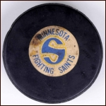 WHA Minnesota Fighting Saints Old Style Logo Puck
