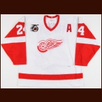 1991-92 Bob Probert Detroit Red Wings Game Worn Jersey - Photo Match