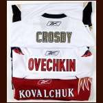 Lot of (3) Lightweight Replica Jerseys - Sidney Crosby, Alex Ovechkin and Ilya Kovalchuk