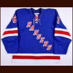 2014-15 Rich Nash New York Rangers Game Worn Jersey - Career Best 42-Goal Season - Photo Match – Team Letter