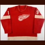 Late 1950's Billy McNeill Detroit Red Wings Wool Game Worn Jersey - Photo Match