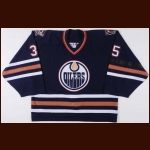 "2002-03 Tommy Salo Edmonton Oilers Game Worn Jersey – ""Memorial Armband"" - Photo Match"