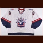 1998-99 Jan Mertzig New York Rangers Game Worn Jersey – Team Letter