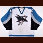 "2000-01 Bobby Dollas San Jose Sharks Game Worn Jersey – ""Sharks 10-Year Anniversary"" – Team Letter"