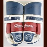 Wayne Gretzky New York Rangers Red, White & Blue Hespeler Autographed Gloves