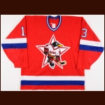 1995-96 Vladimir Zhashkov Russian Penguins Central Red Army Game Worn Jersey