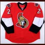 2008-09 Luke Richardson Ottawa Senators Game Worn Jersey - Last Jersey - Team Letter - Includes Official Signed NHL Lineup Cards with NHL Letter
