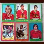 1973-74 Autographed Chicago Black Hawks Card Group of 6