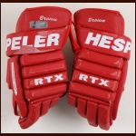 Doug Brown Detroit Red Wings Red Hespeler Game Worn Gloves – Team Letter