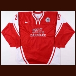 2012 Anders Schultz Denmark National Team World Junior Championships Game Worn Jersey