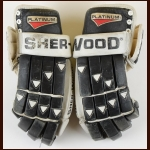 Mikael Renberg Philadelphia Flyers Black Sher-Wood Game Worn Gloves