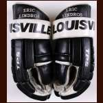 Eric Lindros Philadelphia Flyers B&W Louisville Game Worn Gloves – Rookie