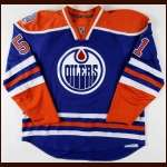 "2008-09 Kyle Brodziak Edmonton Oilers Game Worn Jersey - Alternate - ""30-year Anniversary"" - Team Letter"
