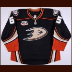 "2013-14 Emerson Etem Anaheim Ducks Game Issued Jersey – Alternate – ""20-year Anniversary"""