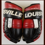 Ken Daneyko New Jersey Devils Red & Black Louisville Game Worn Gloves – Autographed