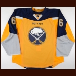 2013-15 Mike Weber Buffalo Sabres Game Worn Jersey – Alternate - Photo Match – Team Letter