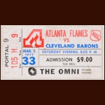 1976-77 Atlanta Flames Ticket Stub -  vs. Cleveland