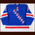2008-09 Paul Mara New York Rangers Game Worn Jersey - Photo Match – Team Letter