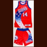 1993-94 Jeff Hornacek Philadelphia 76ers Game Worn Jersey & Shorts - Team Letter