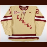 "2012-13 & 2013-14 Kevin Hayes Boston College Game Worn Jersey – Alternate – ""30-year Anniversary"""