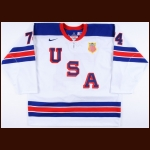2014 T.J. Oshie Team USA Olympics Game Worn Jersey – Throwback - Photo Match – Team USA Letter