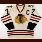 Late 1960's Oscar Gaudet Dallas Black Hawks Game Worn Jersey