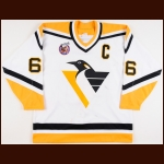 1992-93 Mario Lemieux Pittsburgh Penguins Game Worn Jersey – The Patrick Roy Collection - Hart Memorial Trophy - Art Ross Trophy - Lester B. Pearson Trophy - Bill Masterton Memorial Trophy - 1st Team NHL All Star - Photo Match – Patrick Roy Letter