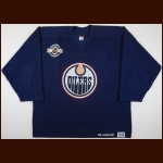 2003-04 Jason Smith Edmonton Oilers Practice Worn Jersey – Team Letter