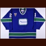 "2005-06 Tyler Bouck Vancouver Canucks Game Issued Jersey – ""Vintage"""